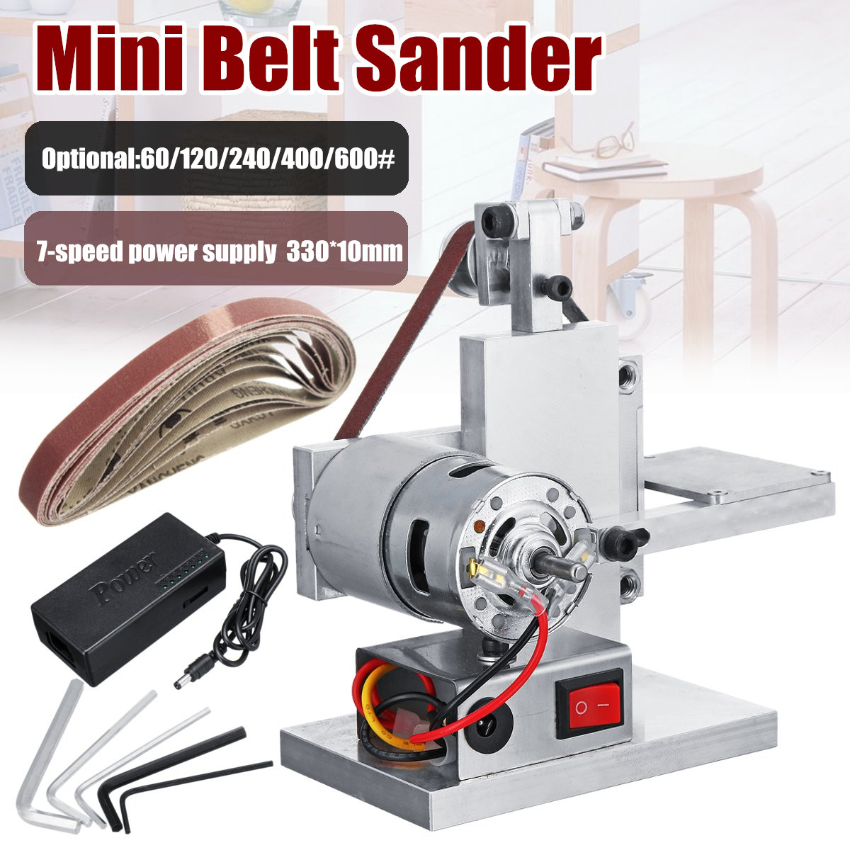 Diy Mini Belt Sander Machine 330x20mm Sanding Grinding