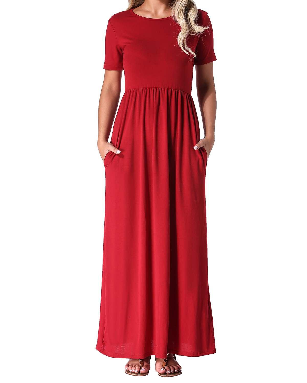 Maxi Long Dresses ZANZEA 2019 Women Casual Loose Solid O Neck Dress Summer Short Sleeve High Waist Party Dress Vestido Plus Size