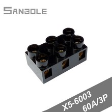 Terminal block Black X5-6003(JX5-6003) 60A/3P Barrier Fixed Type Base Connection Copper with screws Connector (5PCS)