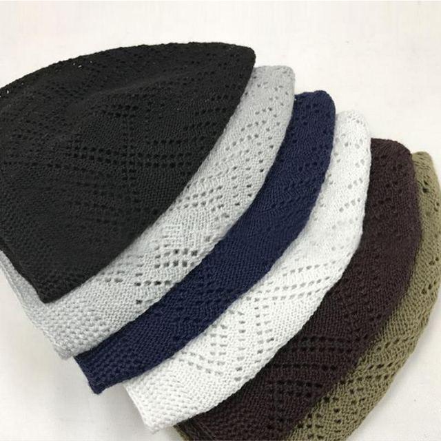 2019 Men Muslim Prayer Hats Mesh Beanie Turkish Arabic Knitted Hats Men  Cotton Crochet Male Muslim Islamic Caps Hombre 6 Color ca1cce33e06