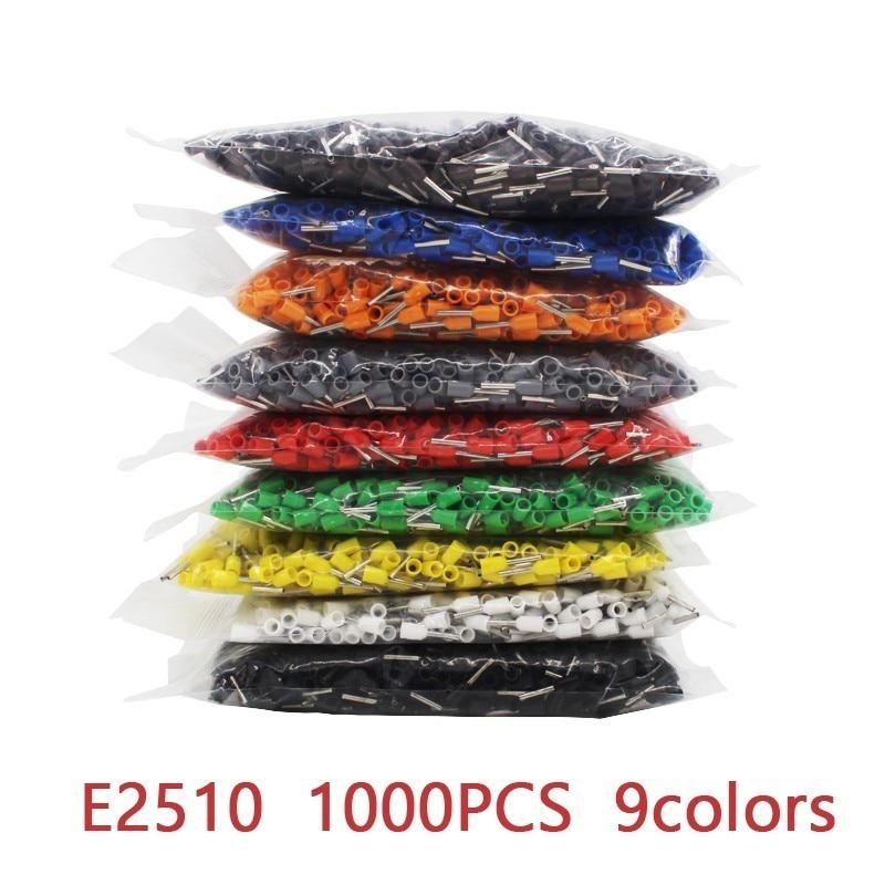 E2510 1000 unidades/pacote isolado cabo terminal terminal de friso conector fio friso virolas terminais de friso tubular awg #14