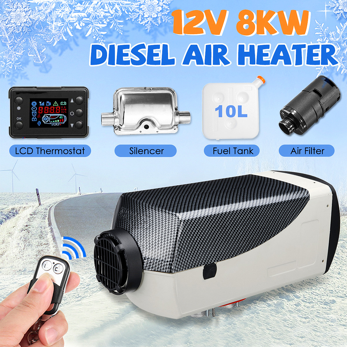 Car Heater 8KW 12V Air Diesels Heater Parking Heater With LCD Monitor Remote Control For RV Motorhome Trailer Trucks Boats Etc