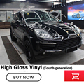 De vierde generatie black Glossy Vinyl Wrap Auto Sticker film met ontluchting kanalen solvent gebaseerde lijm