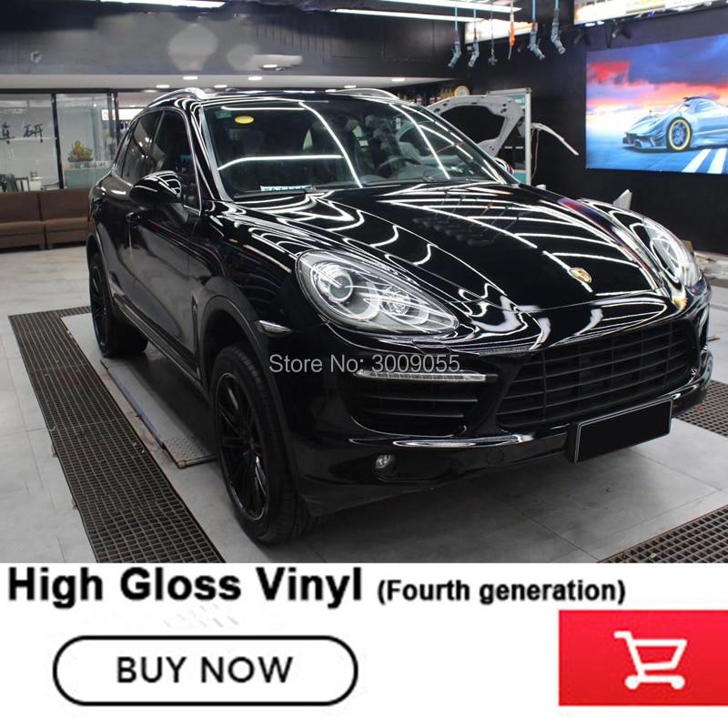 Le film autocollant de voiture d'enveloppe de vinyle noir brillant de quatrième génération avec l'adhésif à base de solvant de canaux de dégagement d'air