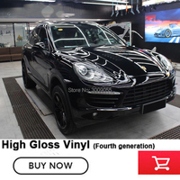 The fourth generation black Glossy Vinyl Wrap Car Sticker film with air release channels solvent based adhesive