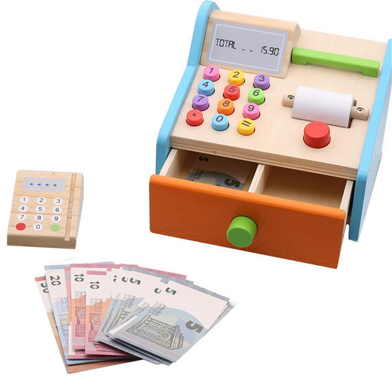 1 Set Children's Wooden Supermarket Cashier Toy Play House Pretend Toy Multi-function Simulation Children Early Educational Toys children s fingerprint toy spy detection kit simulation play house toy set kids technology early education toys