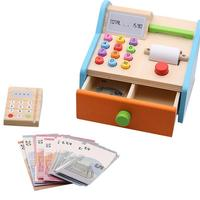 1 Set Children's Wooden Supermarket Cashier Toy Play House Pretend Toy Multi function Simulation Children Early Educational Toys
