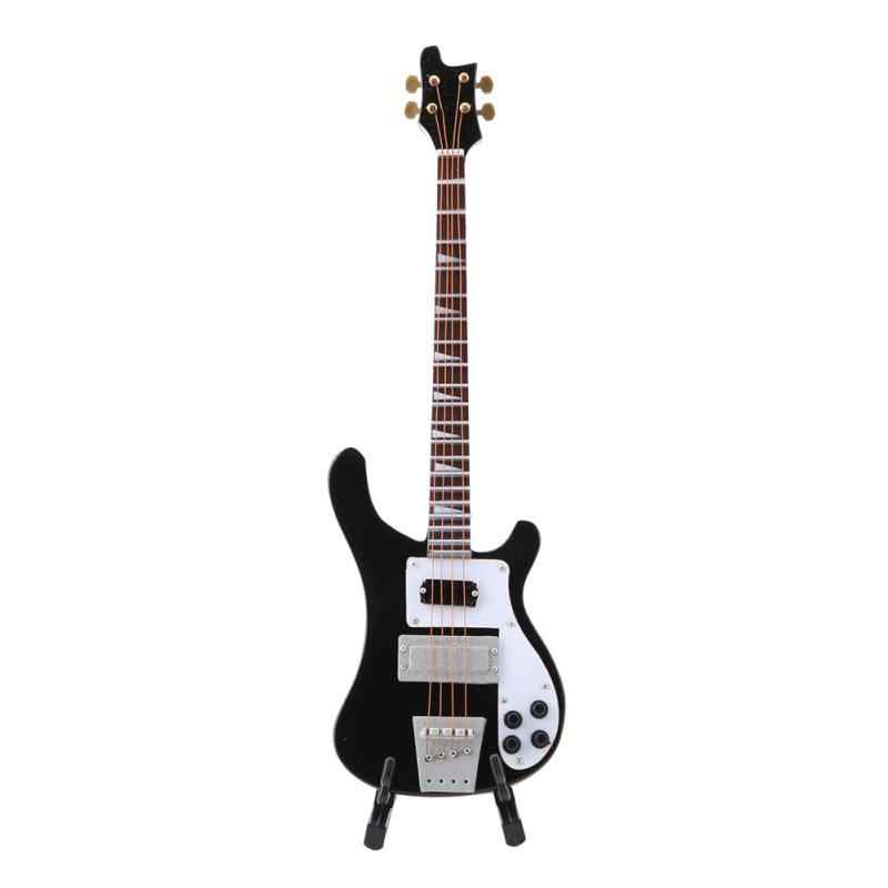 Black Miniature Bass Guitar Replica with Stand and Case Instrument Model  Ornaments Gift