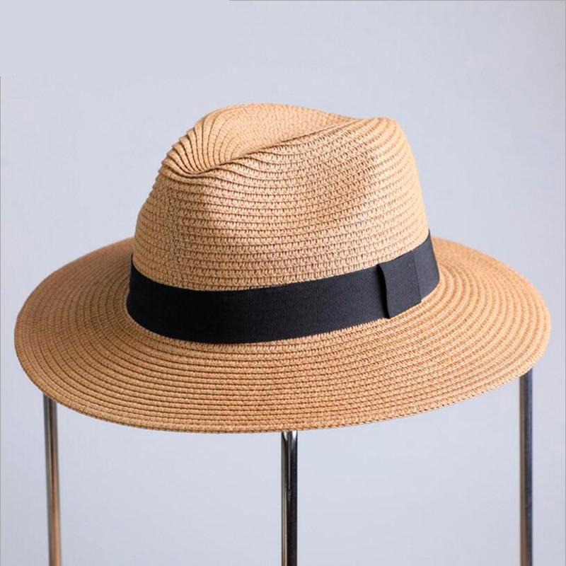 2019 Summer Unisex Sun Hat Casual Vacation Panama Straw Hat Women Wide Brim Beach Jazz Men Hats Foldable Chapeau