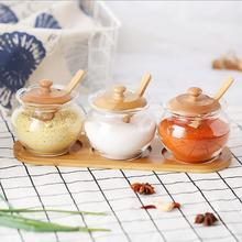 Bottle Lid Condiment Set Bamboo Tray Seasoning Salt, Pepper, Sugar Kitchen Tool Storage Tank