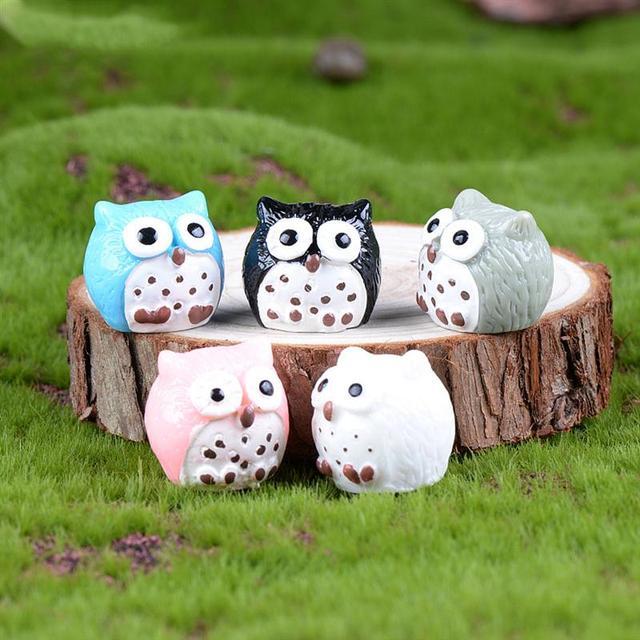 5Pcs Owls Miniature Mini Resin Bonsai Home Garden Micro Landscape Succulent Plant Pots Craft Fairy Decor