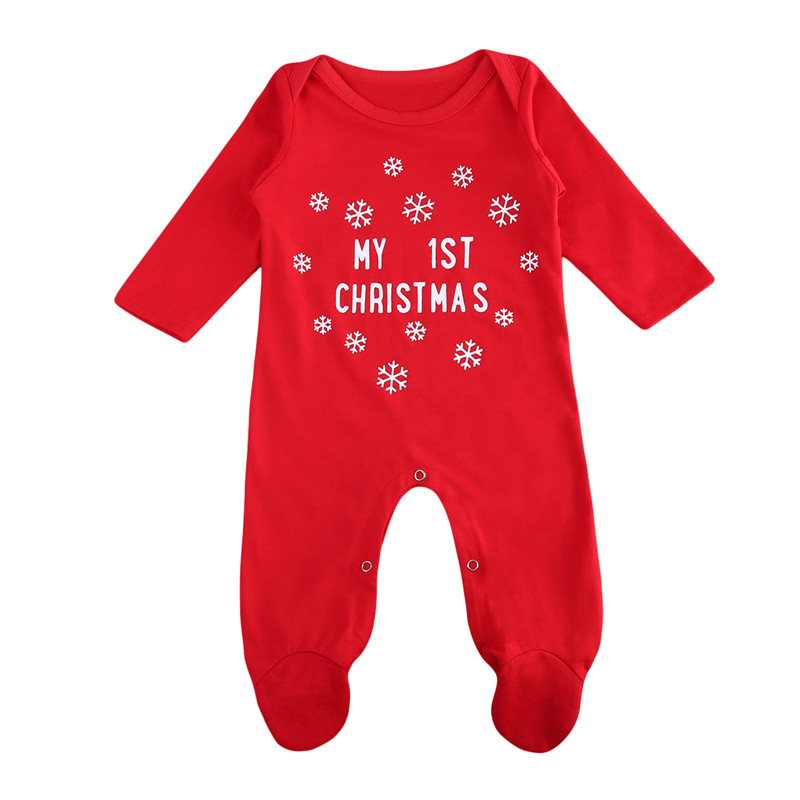 Mother & Kids 2018 New Xmas Red Romper Lovely Cotton Newborn Baby Boy Girls Long Sleeve Romper Christmas Jumpsuit Children Fashion Xmas Outfit