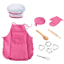 11 Pcs/Lot Child Chef Dress Up Clothes Cooking Baking Tools Pretend Play Kitchen Apron Spoon Take House Toy