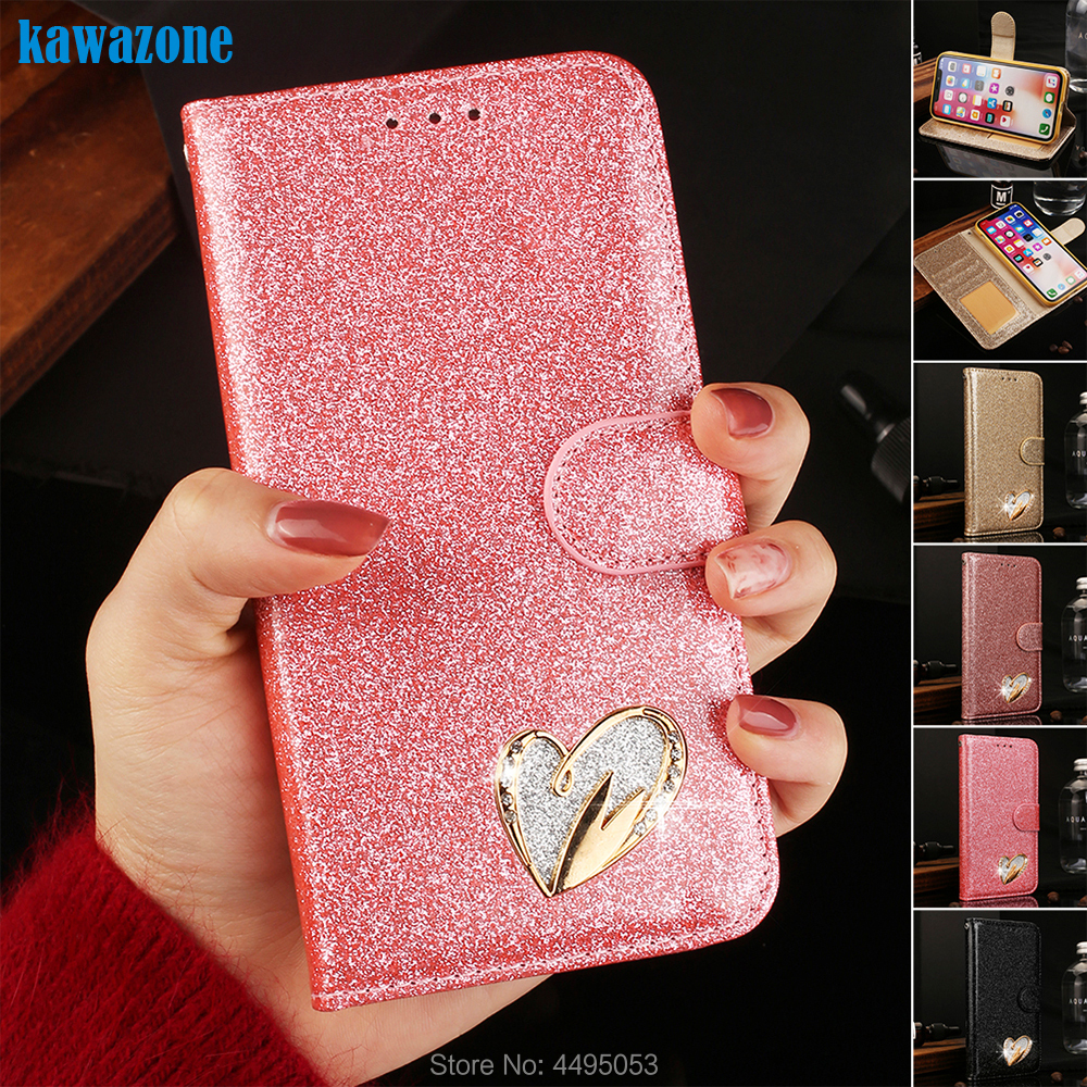 Phone Etui Coque Cover Case for Samsung Galaxy S7 Edge J3 J5 J7 A3 A5 2017 S8 S9 Plus Note 8 9 With TPU IMD Glitter Flip Wallet image