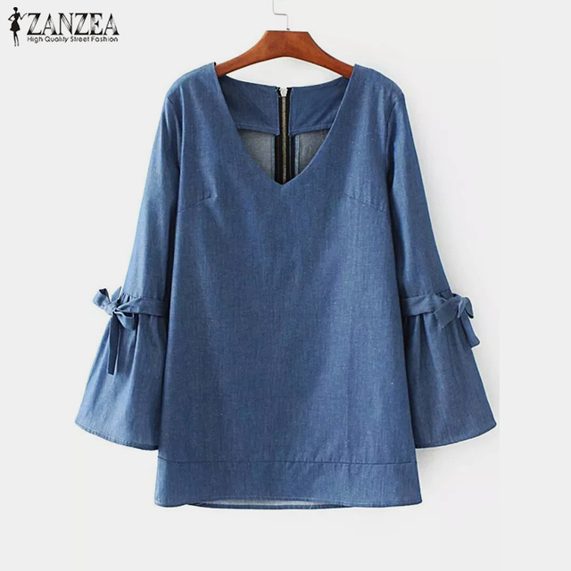 3b849012438a ... Manga Comprida Ruffles Camisa Sólida Blusa Trabalho OL Casuais Top  Denim Azul blusas 5XL. 2019 ZANZEA Fashion Women Spring Elegant V Neck Long  Sleeve ...