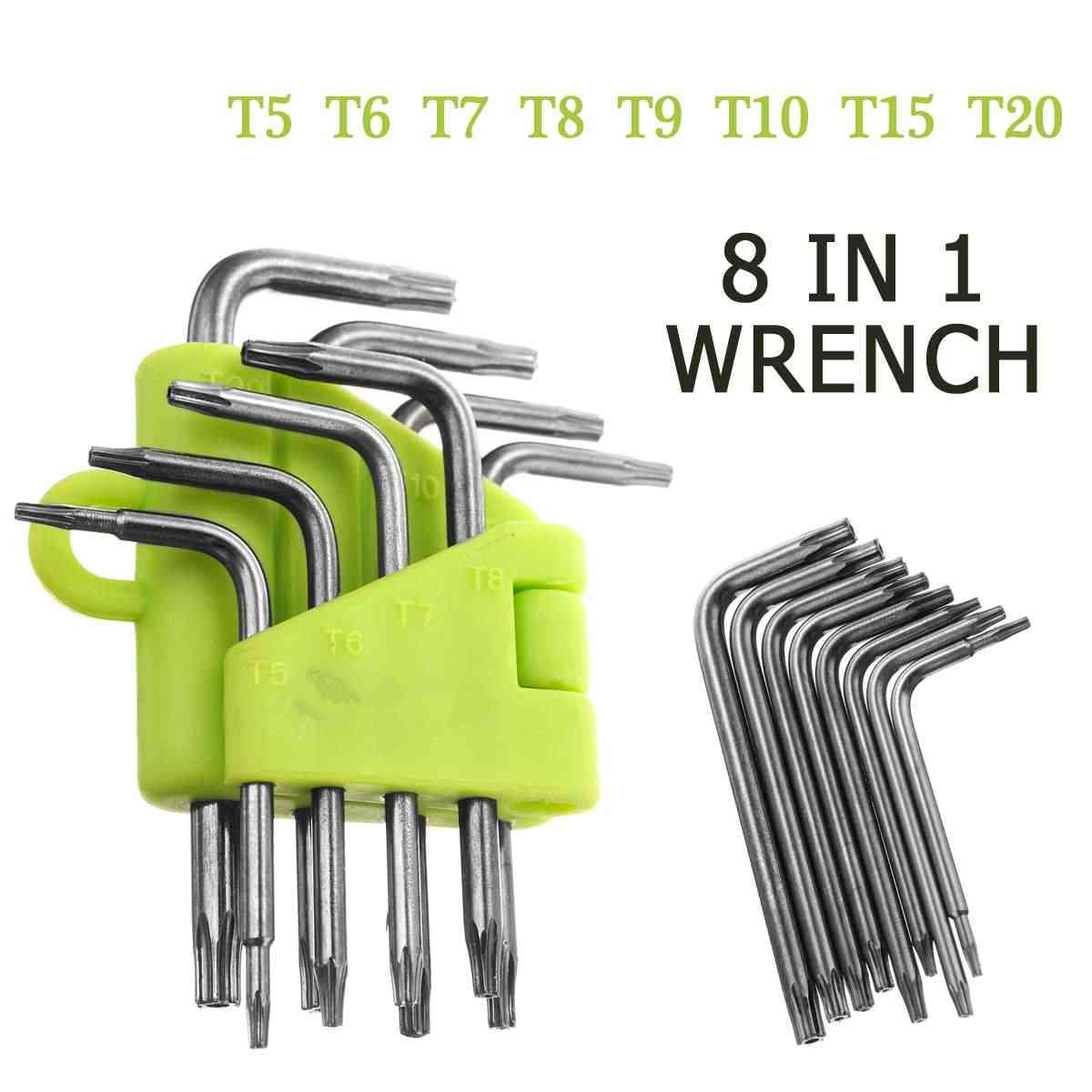 8pcs Star Torx Wrench Spanner Set T5 T6 T7 T8 T9 T10 T15 T20 Box End Wrench Screwdriver Bits Professional Hand Tools