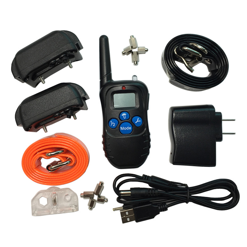 LCD Rechargeable Waterproof Electric Remote Pet Dog Training Shock Collars for 2 Dogs