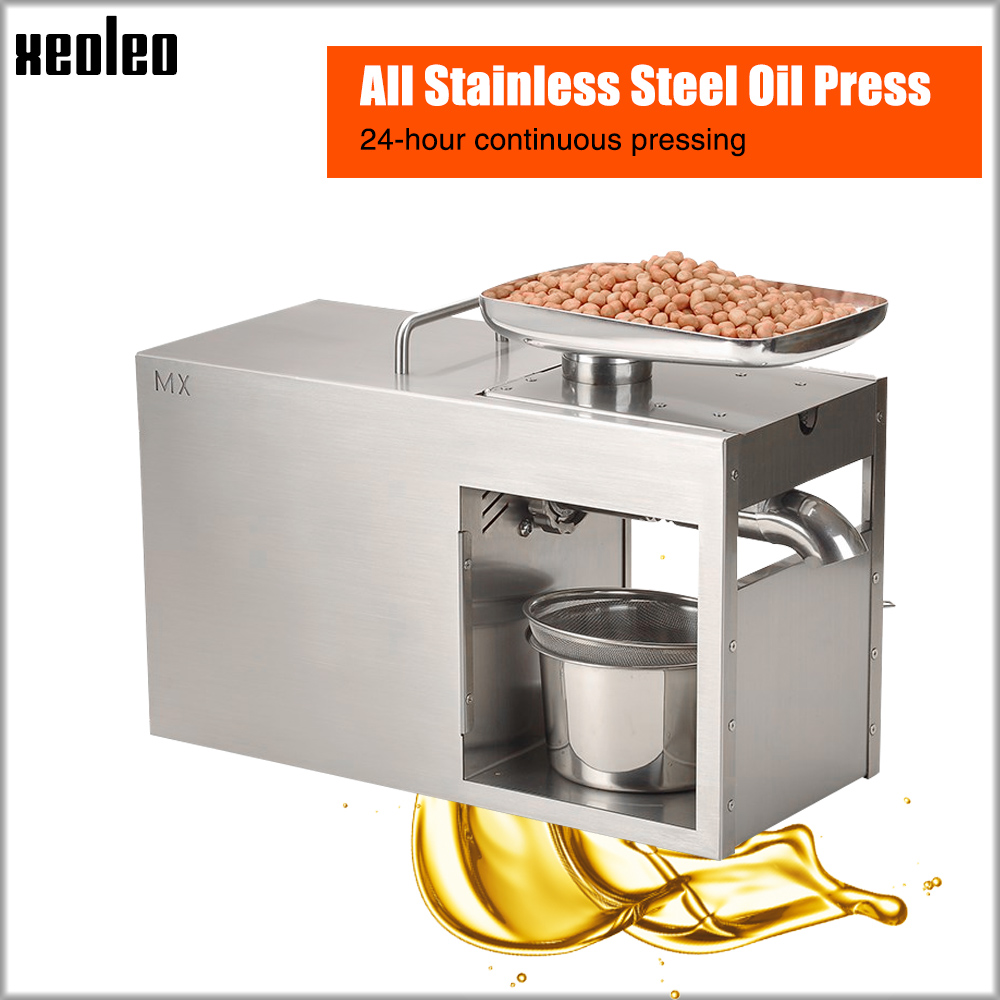 Xeoleo Stainless steel Oil presser 1500W Commercial Home Flax seed Oil press machine Cold Hot press