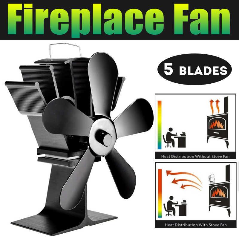 5 лопастей камина Тепловая плита вентилятор комин кастаньеты горелки экологичный тихий вентилятор домашнего эффективного распределения тепла