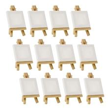 Художники 3 дюйма х 3 дюйма мини холст и 5 дюймов мини-мольберт Набор для рисования ремесло рисование-набор содержит: 12 мини холстов и 12 мини E