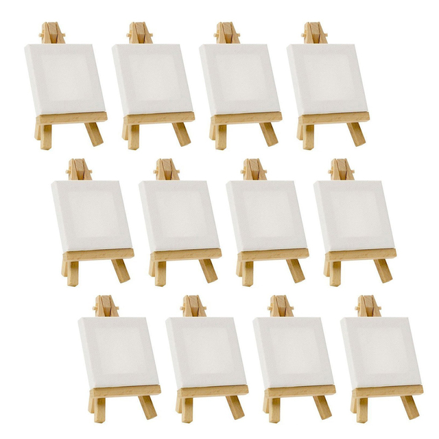 Artists 3 inch x3 inch Mini Canvas & 5 inch Mini Easel Set Painting Craft Drawing - Set Contains: 12 Mini Canvases & 12 Mini E
