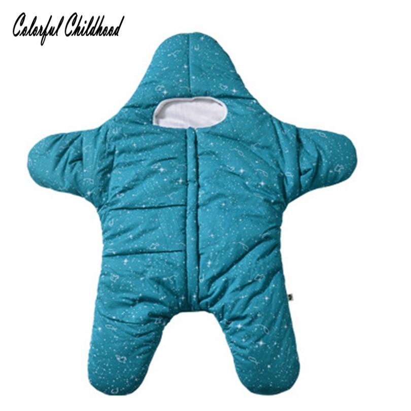 Schneidig Baby Schlafen Tasche Schöne Seestern Form Muster Winter Verdicken Warme Schlaf Tasche Kleinkind Kid Infant Winter Anti-quilt Saco De Dormir Mädchen Kleidung