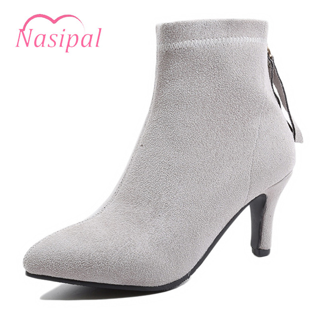 Nasipal Botas Mujer High Heels Sapatos Femininas Pointed Toe Ankle Boots  Autumn Winter Wedding Shoes Boots For Women Plus Size cb2e676b4595