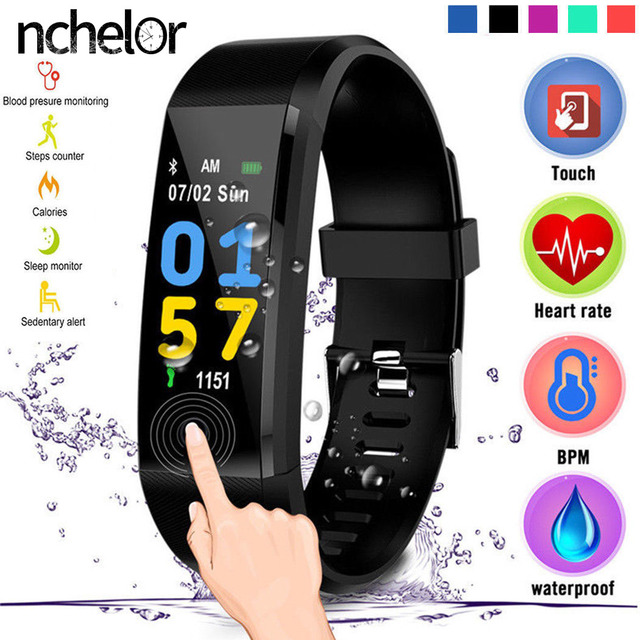 2019 Sport Bracelet Watch Women Men Color Screen IP67 Waterproof Smart Band Hear