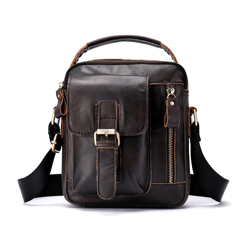 Fashion 2019 Briefcase Men Leather Crazy Horse Small Mens Shoulder Bags Famous Brand High Quality Mens Messenger Bags Causal