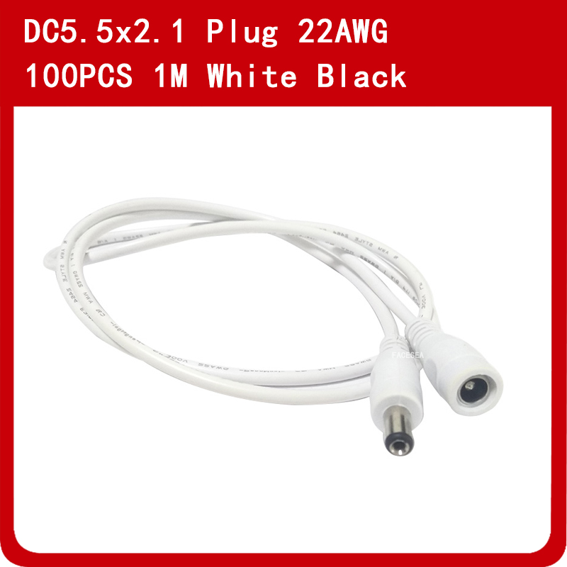 100pcs 1m 12V DC Power Cord 5.5*2.1mm Male Female Power Adapter Extension Cable CCTV Camera Extend Wire white black100pcs 1m 12V DC Power Cord 5.5*2.1mm Male Female Power Adapter Extension Cable CCTV Camera Extend Wire white black