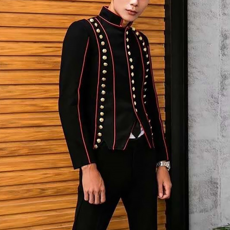 Band Stand Lead Self-cultivation Chinese Tunic Suit Wind Full Dress Blazer Masculino Loose Coat Long Sleeve Rule Black Routine