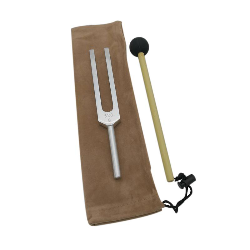 New 528 Hz Aluminum Alloy Tuning Fork With Silicone Hammer Cleaning Cloth Perfect Healing Musical Instrument