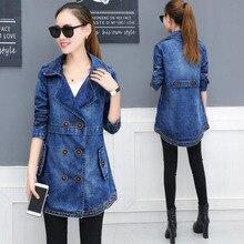 #3310 2019 Spring Slim Double Breasted Coat Long Denim Jackets Women Casual Windbreaker Jaqueta Jeans XXXL
