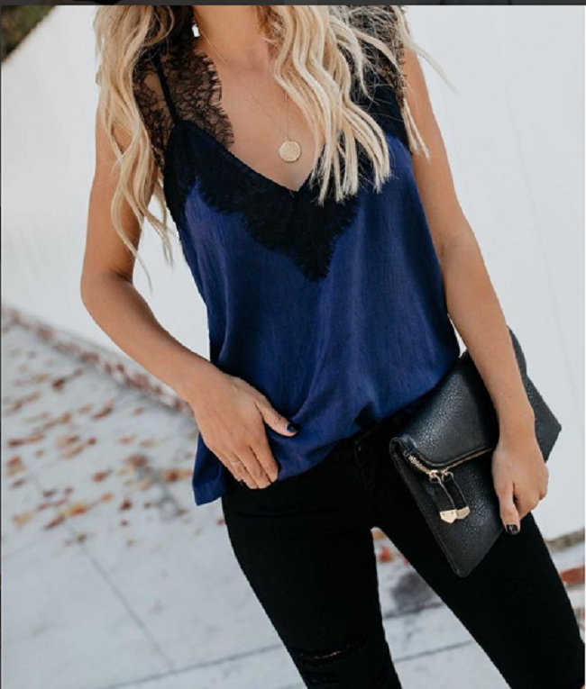 4 Colors Lace   Top   Camis Sexy   Tank     Top   Women Camisole Ladies 2019 New Solid Colour V-Neck Sleeveless Shirt Summer Shirt Female