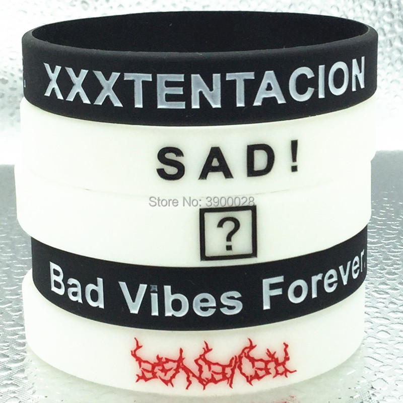Silicone Wristband Bracelet Bad-Vibes Star Rapper American Xxxtentacion Forever 1pc Sad title=