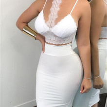 Women Ladies 2 Piece Lace Bodycon Two Piece Outfits Sleeveless Shirt Crop Tops S