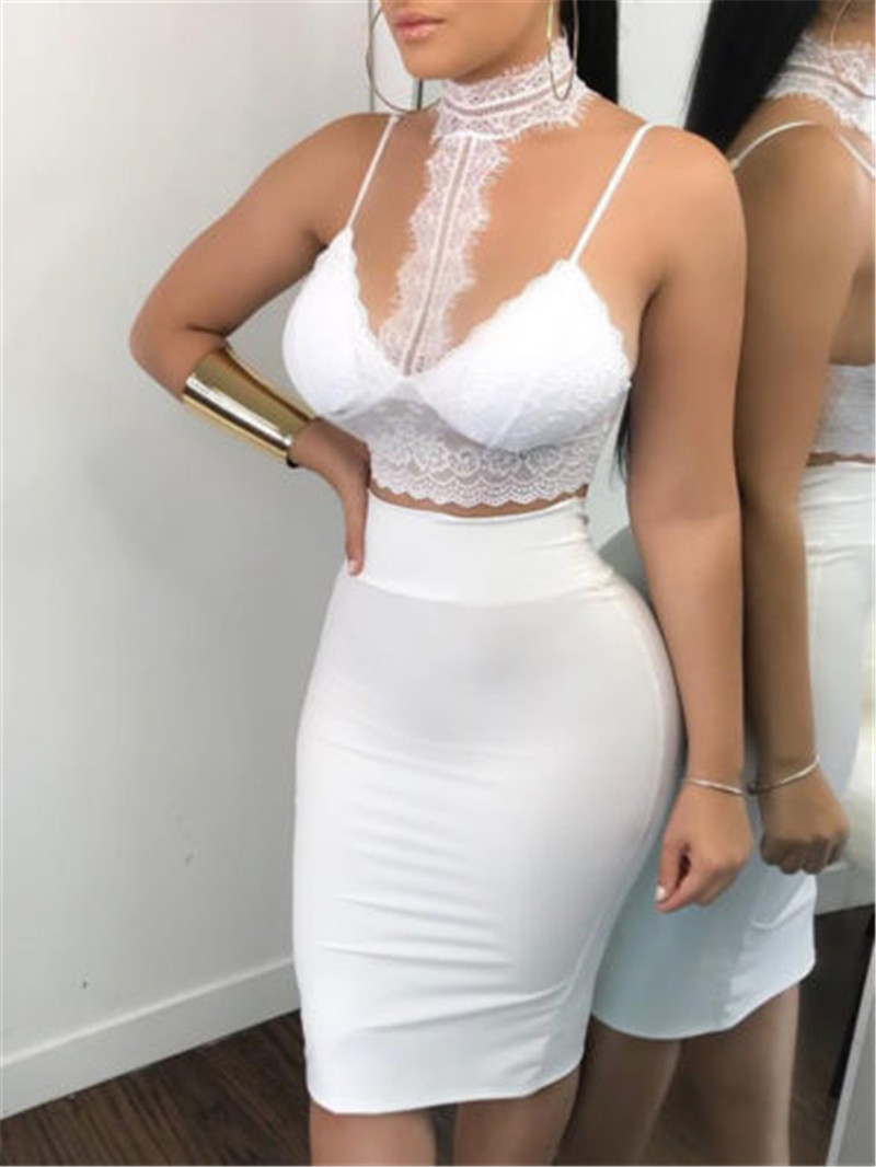 Women Ladies 2 Piece Lace Bodycon Two Piece Outfits Sleeveless Shirt Crop Tops Skinny Skirt Set Bandage Party Clothing