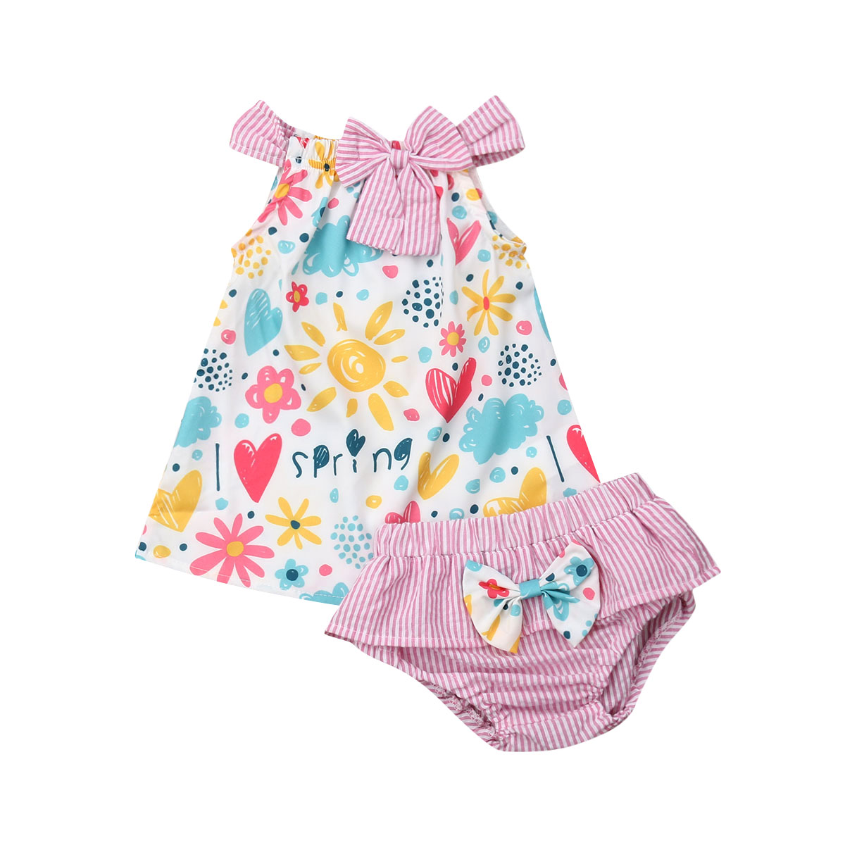 d0b317cea 0-24M Cute Newborn Baby Girl Sleeveless Floral Vest Tops Striped Bowknot  Baby Bloomers Shorts