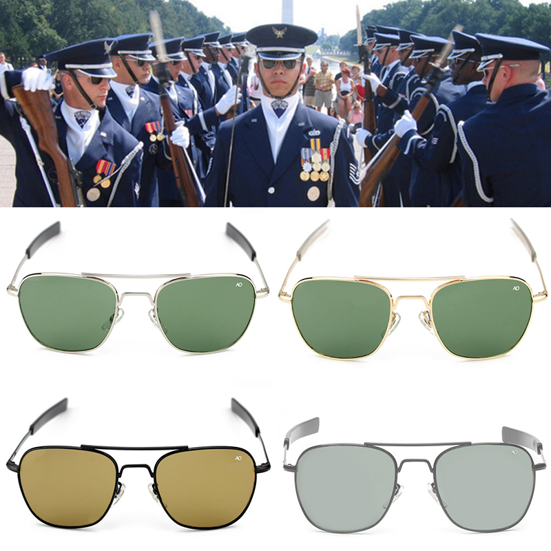 2019 New Fashion Army MILITARY AO Pilot 54mm Sunglasses Brand American Optical Glass Lens Sun Glasses Oculos De Sol Masculino