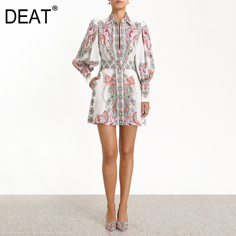 DEAT 2019 new summer women dresses Hubble bubble Sleeve turn down collar lantern sleeves printed high waist dress WE27709L-in Dresses from Women's Clothing on AliExpress - 11.11_Double 11_Singles' Day 1