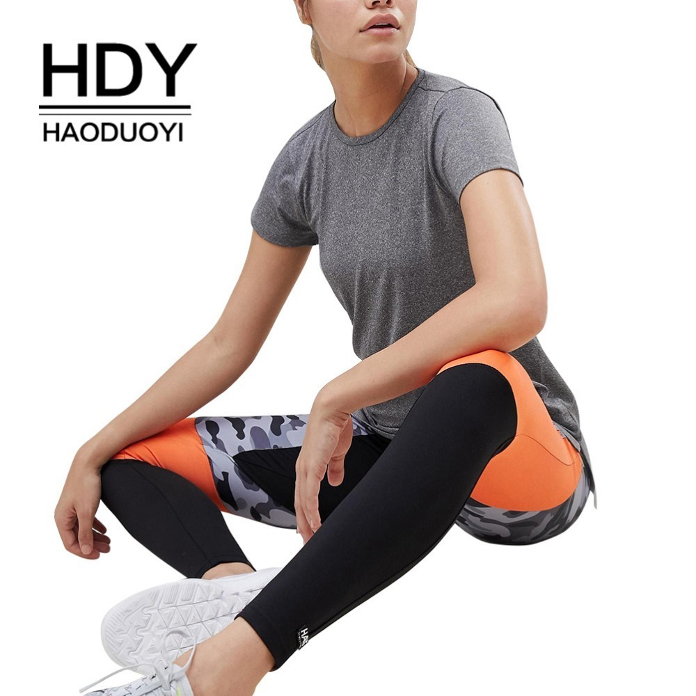 HDY Haoduoyi 2019 Summer Girls Hot Pure Color Simple Commuter Halter Sexy Sports Casual T-shirt