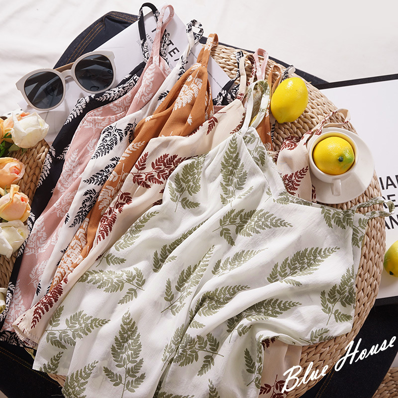 Leaves Chiffon Camisole Vest Women Floral Casual Loose Vintage   Tank     Top   White Black   Tops