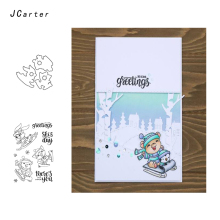 JCarter Greeting Skiing Animals Metal Cutting Dies or Clear Stamps for Scrapbooking DIY Embossing Folder Paper Maker Template