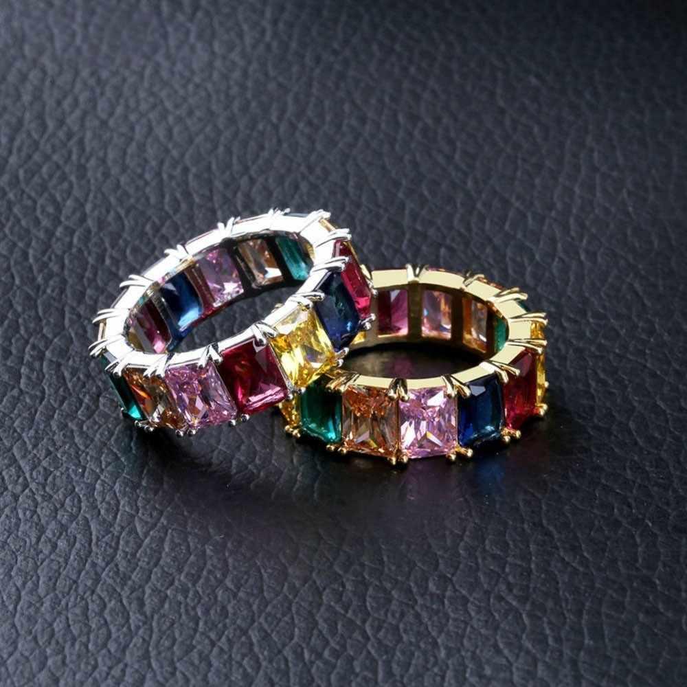 UWIN Arcobaleno Piazza CZ Full Ring Bling Ghiacciato Fuori di Cerimonia Nuziale di Zircon di Lusso Di Fidanzamento Vintage Gioelleria raffinata e alla moda del Regalo