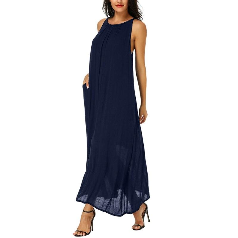 Летнее сексуальное богемное женское Макси длинное платье 2019 пляжное платье плюс размер мешковатый сарафан повседневные свободные Спагетт...