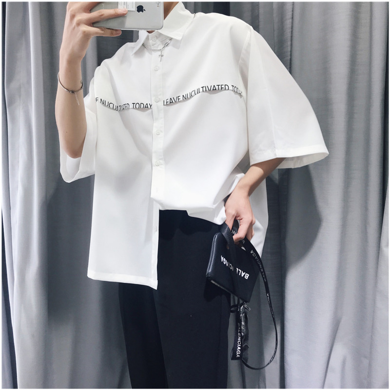 2019 Summer New Listing European And American Style Trend Couple Casual Wild Cotton Loose Creative Features Solid Color Shirt