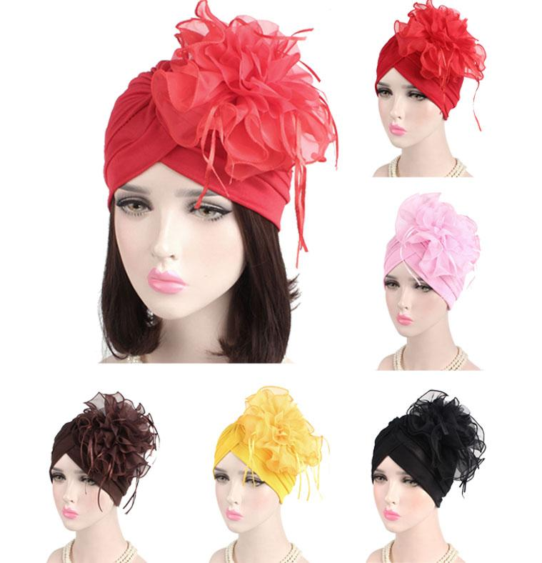 Indian Women Muslim Retro Turban Hat Big Flower Bonnet Lace Hair Loss Head Scarf Wrap Caps Pleated Tassel Chemo Hat Beanies New