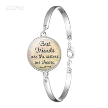 Best Friends Are The Sisters We Choose, Friendship Quote Bracelet Bangle Silver Chain Git for Friend