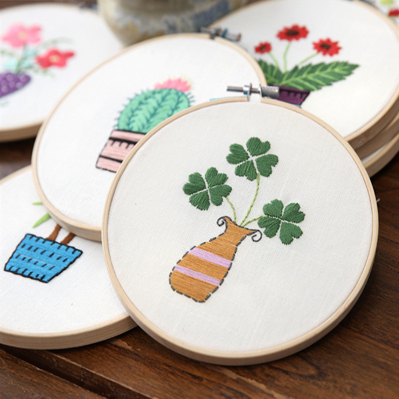 1Set Green Plant Embroidery With Frame DIY Manual Beginner Needlework Kits Cross Stitch Series Arts Crafts Sewing Decor Gift in Embroidery from Home Garden