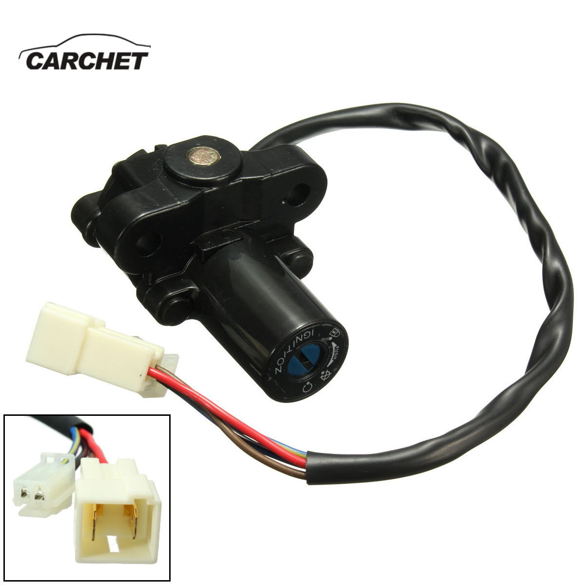 CARCHET Motorcycle Accessories Set Fuel Gas Cap + Ignition Switch + Start Switch + Key Kit Universal for Yamaha YZF R1 R6